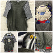 Baby Boys 2 Piece Dungaree Top Outfit Set Teddy Bear | Grey Navy | Age 0-9Months