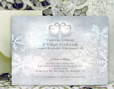 PERSONALISED WEDDING INVITATIONS Snowflake Hearts Winter Invites and Envelopes