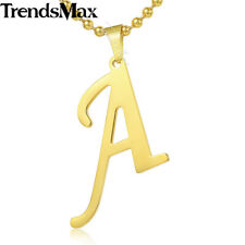 22inch A-Z Gold Stainless Steel INITIAL LETTER Pendant Necklace Mens Chain Women