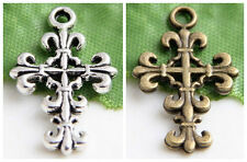 Wholesale 10/20/30Pcs Silver/ Bronze Plated Cross Charms Pendant 23x14mm