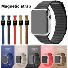 Luxury Genuine 38/42MM Strap Leather Loop Magnetic Closure Band For Apple Watch