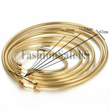 Women's Fashion Gold Tone Stainless Steel Big Round Circle Dangle Hoop Earrings