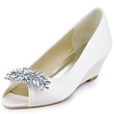 WP1564 Middle Heel Women Bridal Wedges Peep Toe Rhinestones Satin Wedding Shoes