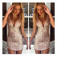 Bling Sequins Sexy Backless V-neck Bodycon Clubwear Cocktail Evening Party Dress