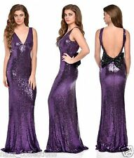 PURPLE PLUNGE FULL STRETCH SEQUIN LOW BOW BACK FISHTAIL MAXI EVENING DRESS 8-16