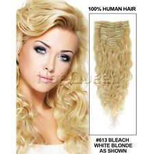 Hot Brazilian Body Wavy Clip In Human Hair Extensions Remy 7pcs 100g Blonde 613#