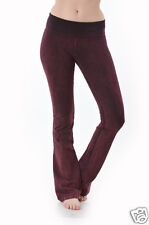 T-Party BURGUNDY Yoga Pants Mineral Wash FoldOver Waist Cotton Made in USA S-M-L