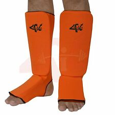 4Fit Shin Instep Protectors, Guards Pads Boxing, MMA, Muay Thai ORANGE