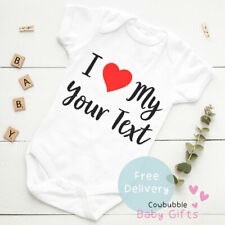 I Love Your Text Here Baby Vest Grow Christening Bodysuit Personalised Baby gift