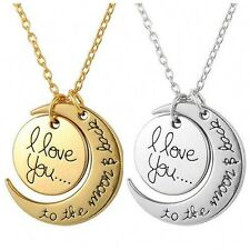 Fashion I LOVE YOU TO THE MOON AND BACK Moon Charm Pendant Necklace Family Gift