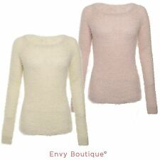 LADIES WOMENS ALL OVER EYELASH FUR KNIT FLUFFY LONG SLEEVE KNITTED JUMPER TOP