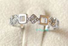 18K White Gold GP Silver Square Thumb Pinky Ring All Size Stackable Celeb Style