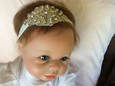Glittery White Rhinestone Baby/Girl Headband - Christening/Weddings/Special Day