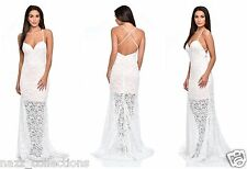 WHITE NUDE SHEER LACE APPLIQUE FISHTAIL WEDDING EVENING PARTY MAXI DRESS 8-16