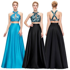 Two Piece Beads Long Prom Dress Evening Dress Sequins Homecoming Graduation Gown