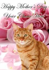 Ginger Cat Mothers Day Personalised Greeting Card pidmother Mum Mummy