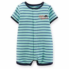 Carters Newborn 3 Months Dinosaur Romper Baby Boy Cotton Summer Clothes Blue