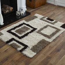 LARGE MEDIUM SMALL MODERN RUG CREAM CHOC 5CM HIGH PILE THICK SHAGGY DESIGN RUGS