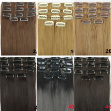 """24"""" 62cm Women Long Straight 5 Pieces Clip In On Full Head Hair Extension New 15"""