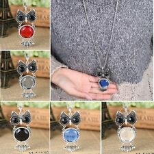 Women Retro Silver Owl Rhinestone Crystal Pendant Necklace Long Sweater Chain