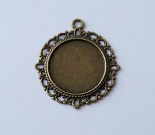 Bronze Cabochon Cameo Settings Charm Pendant Clear Glass Dome Fit 20mm