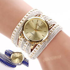 Women Crystal Rivet Bracelet Watches Quartz Braided Winding Wrap WristWatch Nice
