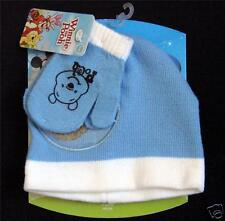 DISNEY Toddler Boys Winnie the Pooh Hat Mittens Mitts GIFT Set Blue 2-3X NEW