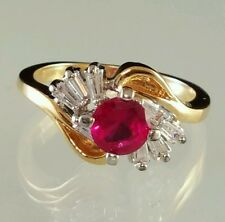 Yellow Gold Plated Birthstone Cocktail Ring Ruby Imitation Red C Z Size  4 5 6 8