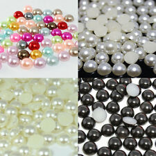 3~6mm 500~5000pcs 4 Colors Half Pearl Beads Flatback Pearls Scrapbook Craft
