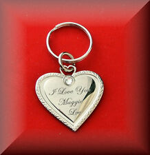 PERSONALIZED SILVER HEART WITH RHINESTONE KEYCHAIN NAME CUSTOM ENGRAVED FREE