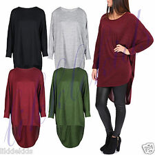 Womens Ladies Celeb Style Hi Lo Dip Back Oversized Baggy Batwing Top Dress 8-26
