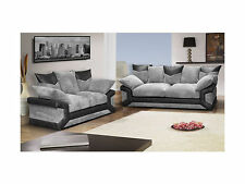 New Dino 3+2 Sofa Suite Foam Seats Scatter Cushions Formal back (Black & Grey)