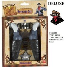 Deluxe Twin Gun & Holster Bullet Belt Badge Toy Set Cowboy Wild West Fancy Dress