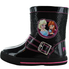 Frozen Wainwright Disney Girls Kids Boots - Black/Pink (Sizes 6,7,8,9,10,11,12)