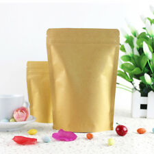 Kraft Paper Bag Pouch Stand Up Resealable Coffee Ziplock Aluminum Foil 11x18.5cm