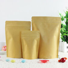 Kraft Paper Bags Pouch Stand Up Resealable Coffee Ziplock Aluminum Foil 18x30cm