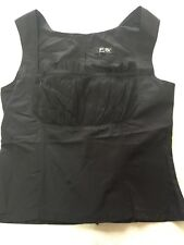 Fred Sun Black  Zip Back Vest Top With Vintage Edwardian Style Bust & Neck 10-12