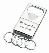 PERSONALIZED SILVER BOTTLE OPENER KEYCHAIN CUSTOM ENGRAVED FREE
