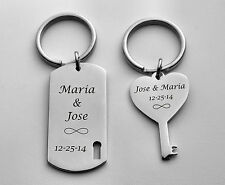 PERSONALIZED SILVER HIS & HERS DOG TAG & HEART KEYCHAIN SET CUSTOM ENGRAVED FREE
