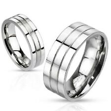 8mm Silver Grooved Brushed Center Band Men's Stainless Steel Ring