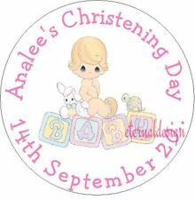 Personalised High Gloss Christening Day / Baptism Circle Stickers 7 Sizes CDCS10