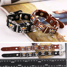 Punk Genuine Leather Belt Bracelet Pirate Skull Metal Buckle Wristband Bangle BL