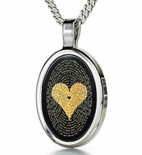 925 Sterling Silver Pendant Black Oval Heart Onyx Chain Necklace Jewelry