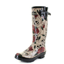 Womens Wyre Skull And Roses Print Wellies Festival Wellington Boots Size