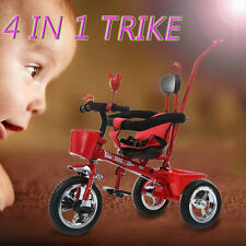 4 In 1 Childrens Toddlers Tricycle Ride Bike Smart Trike w/Parent Handle Push AU