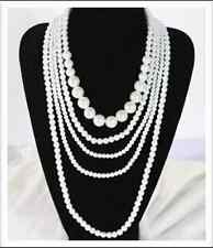 White or Black Pearl Beads 5 Layers Sweater Necklace Jewelry