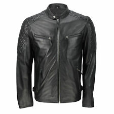 Mens Black Real Soft Sheep Leather Classic Smart Casual Biker Zip Bomber Jacket