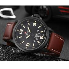 NAVIFORCE Water Resistance Date Quartz Wristwatch Leather Strap Watch Located UK