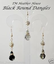 TMHH 8MM DANGLE EARRINGS W/ SWAROVSKI JET BLACK DIAMOND CRYSTALS & STERLING