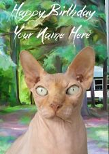 Sphynx Cat Occasions Personalised Greeting Card Birthday Fathers Mum PIDCAT1
